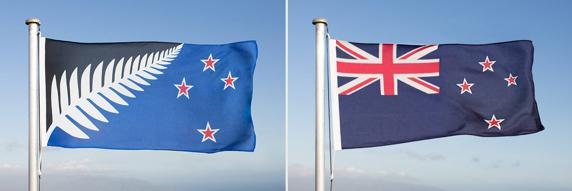 La bandera alternativa (izquierda) fue creada por Kyle Lockwood y seleccionada en diciembre tras otra votación entre cinco propuestas.