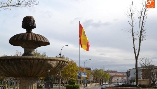 Una bandera de España gigante, nueva compañera del Árbol Flaco