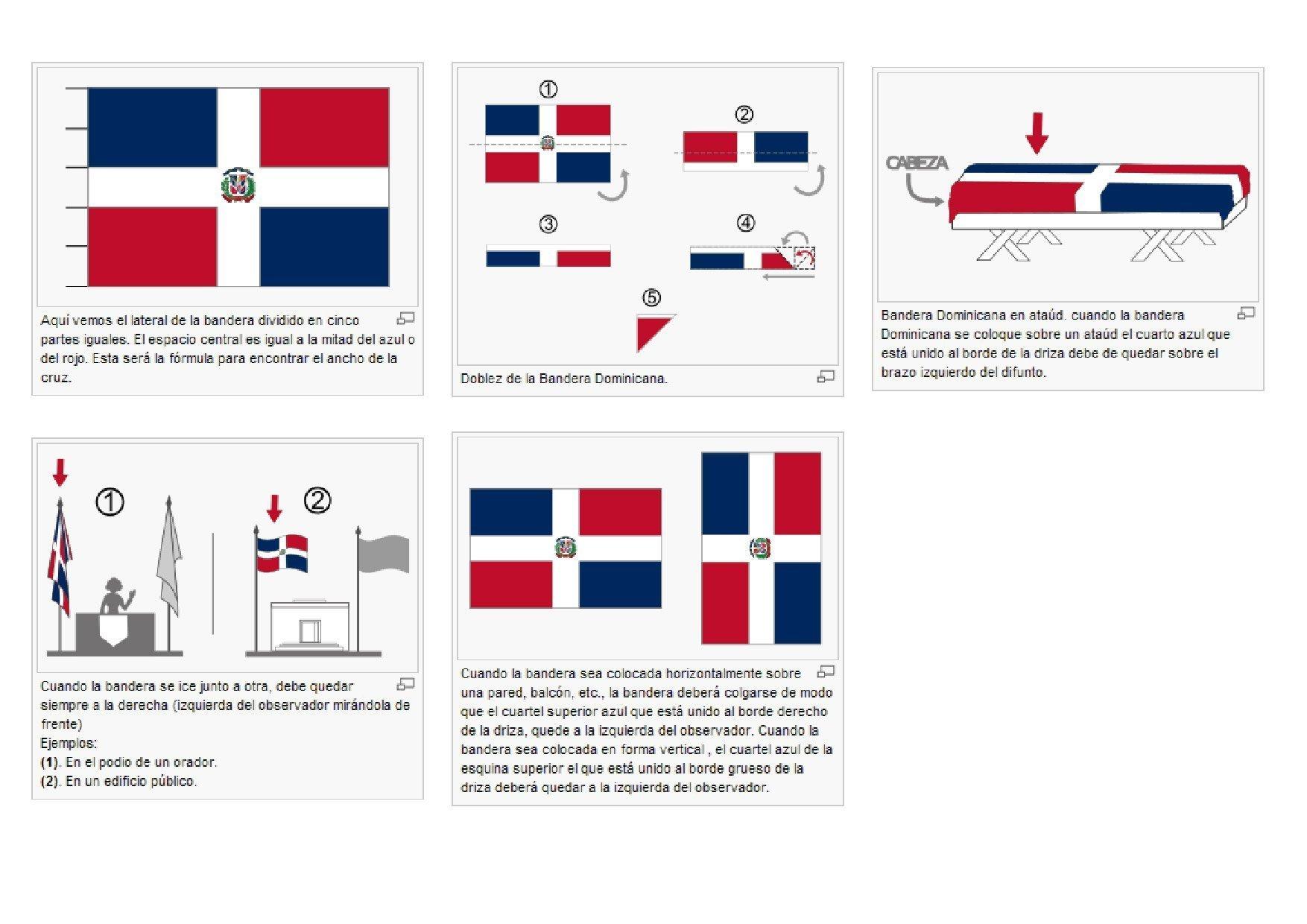 Sabías que la bandera dominicana tiene regulado por ley ……………